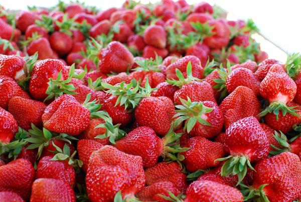 Erdbeeren auf einem großen Haufen